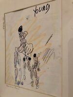 Purvis Young Original Pen Sketch, Van Gogh Picasso Miro of the Ghetto Miami COA