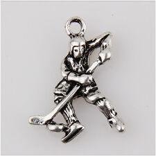 15Pcs Ice Hockey Players Tibetan Silver Charms Pendants 23mm  EIF0050