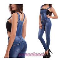 Salopette jeans donna overall tuta tutina skinny multifunzione nuova Y0945