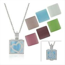 925 Silver Cats Eye 7 Stone Interchangeable Square Pendant Set, 18""