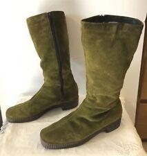Vtg Bally Vienna Size 7.5-8 Green Suede Leather Zip Up Knee High Boots Austria