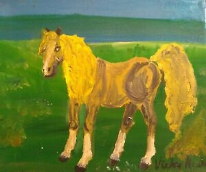 """OIL ON CANVAS PICTURE  OF A GOLDEN PALOMINO PONY 7"""" 5"""""""