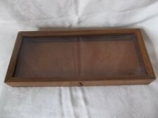 "Oak Wood Display Case 20"" x 8 3/4"" x 2 1/4"" Arrowheads Knives Collectibles Coins"