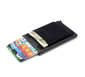 Aluminum Card Holder Wallet With Elasticity Back Pouch ID RFID Mini Slim