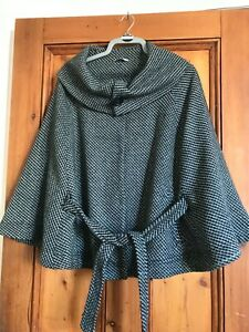 EDITIONS.  BLUE/GREY WOOL MIX LINED WINTER CAPE JACKET WITH BELT. SIZE 18