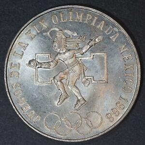 1968 Mexico 25 Pesos Olympics silver coin, UNC, KM# 479.1