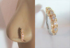 18k Gold Plated Seamless Nose Jewelry Hoop Ring Clear Crystal Gem CZ 18 gauge