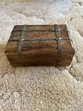 Vintage Wooden And Metal Treasure Box Trinket Chest