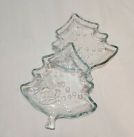 """Vintage Figural Christmas Tree Candy Nut Dish 7.5"""" Indonesia Set of 2 Crystal"""