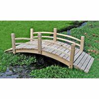 Wooden Garden Bridge 6 ft. Cedar Wood Pond  Walkway Backyard Natural Finish