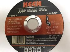 "Box of 50, 4-1/2""x.045""x7/8"" Metal Stainless Steel Cut-Off Wheel KEEN #14008"