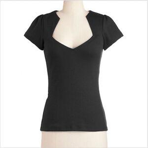 Women Black Rockabilly Retro Vintage 50s Pin-up Top Plus Size Shirt