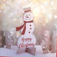 3 x 3D CHRISTMAS GLITTER SLEIGH SANTA SNOWMAN SNOWFLAKE TABLE DECORATION XMAS