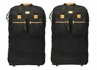 """2-Pack 36"""" Black Expandable Rolling Wheel Duffel Bag Spinner Suitcase Luggage"""