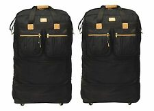 "2-Pack 36"" Black Expandable Rolling Wheel Duffel Bag Spinner Suitcase Luggage"