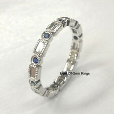 Blue Sapphire Diamond Wedding Band!Engagement Ring,14K White Gold,Anniversary