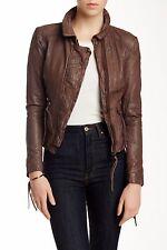 MUUBAA Galaxi Washed Lamb Leather Biker Moto Jacket NWT XS/ 4US/36 EU Brown $550