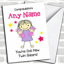 Big Sister Congratulations New Baby Twin Girls Sibling Customised Card