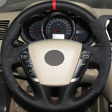 DIY Steering Wheel Cover Black Leather Suede Hand Sewing For Nissan Teana Murano