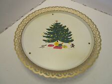 Vintage Nashco Ny Metal Tray with Music box Christmas Tree Rudolph 15� W 1960's