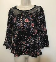 Skies Are Blue XS Blouse Black & Pink Floral 3/4 Bell Sleeve Lace Scoop Neck Top
