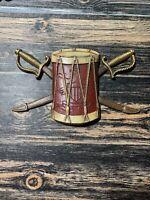 Vintage Sexton USA Cast Metal Drum w Crossed Sabers Wall Art Hanging #576 9 inch
