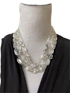 "Silpada Sterling Silver, Quartz, Pearl, Agate ""White Heat"" Necklace N1789 *50"