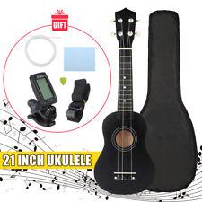 """21"""" Economic Soprano Ukulele Uke Start Pack With Gig bag, Strings,Tuner, Black"""