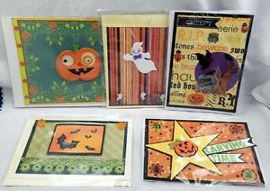 5 HALLOWEEN Greeting Cards Lot #1 - Handmade and Unique