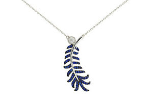 Round Blue Sapphire & Simulated Diamond Leaf Necklace 14K Gold Over Silver