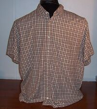 Old Navy Mens Brown Check Button Front Casual Cotton Short Sleeve Shirt 2XL XXL