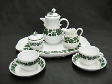 Meissen Full Green Vine Tea Set Demitasse Cups Saucers Teapot Tray Sugar Creamer