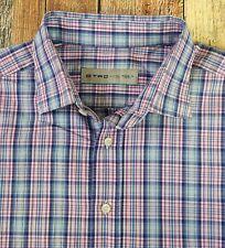 Etro Men's Cotton Long Sleeved Shirt (43) 17-35 XL Multicolor Plaid