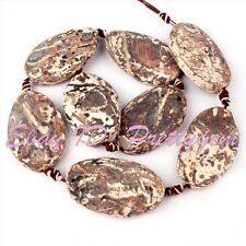 25X40MM OVAL SHAPE BROWN WOOD OLD AGATE GEMSTONE SPACER LOOSE BEADS 8 PCS