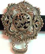 HUGE STEPHEN DWECK SILVER PLATED ROUND FLORAL DESIGN SCARF CLIP GORGEOUS!