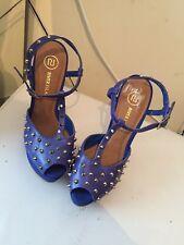 River Island Blue Platform High heel shoes Size 7