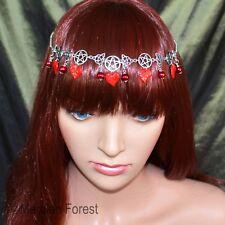 Pentáculo pendientes Bosque tocado-Sanguina Rojo-Pagano gótico de Bruja Vampiro