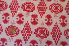 One VINTAGE FEEDSACK * RED GRAPHICS on WHITE  37x45 Diamonds Roses Dots