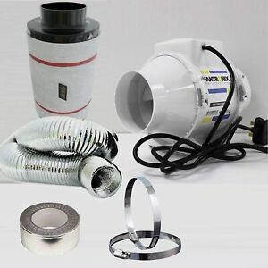"""Carbon Filter Fan kit extractor inline 4"""" 5"""" or 6"""" grow tent set hydroponics 100"""