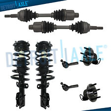 2 Front CV Axle Shaft + 2 Wheel Hub Bearings ABS + 2 Complete Struts + 2 Tie Rod