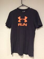 UNDER ARMOUR Heatgear RUN Black Orange Shirt SZ S Men's C17-126