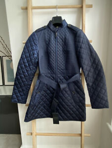 BNWT 100% Auth Burberry Diamond Quilted Trench Coat Slim Lightweight Navy UK8