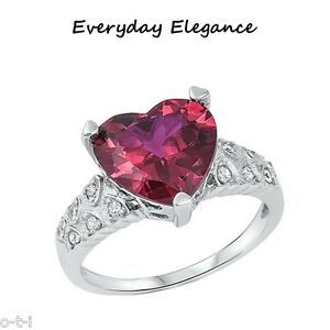 Alluring Large Ruby Red Heart CZ Sterling Ring Size 5 - 11