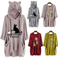Womens Cute Ear Cat Print Hooded Long Sleeves Pocket Tops Blouse Shirt Plus Size