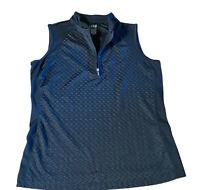 IZOD GOLF Ladies Sleeveless Polo Shirt Black Halter Neck Sz S 3/4 Zip
