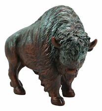 Native American Wild Bison Buffalo Resin Statue In Green Patina Bronze Finish