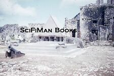 KODACHROME Red Border Slide Old Stone Rock Fort Cannon Cobblestones Man 1950s!!!