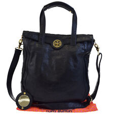 Authentic TORY BURCH Logo 2Way Shoulder Tote Hand Bag Leather Black Gold 04BC480