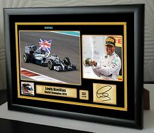 Lewis Hamilton F1 World Champion 2014 Mercedes Framed Canvas Print Signed.