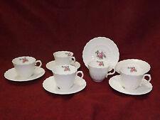 Vintage Spode Jewel Billingsley Pink Rose 5 Demitasse Cup & Saucer Sets England